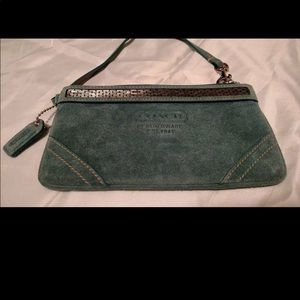 """Turquoise Suede & Beaded """"Coach"""" Wristlet"""